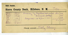 1899 Debit Voucher from the Sierra County Bank Hillsboro New Mexico
