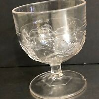VTG Pressed Glass Goblet Berry Bowl Compote Berries With Leaves Clear Rare
