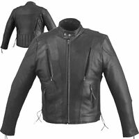 Mens Traditional Leather Motorcycle Biker Scooter Vented Racing Premium Jacket