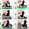 Family Wedding Cake Topper with Dogs Cats Black Custom Party Cake Decorations
