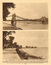 The Thames tow-path at Putney Bridge & Hammersmith 1926 old vintage print