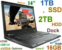 "# 3D-Design Thinkpad T430s i7-3520M (1TB SSD + 2TB) 16GB 14"" HD+ nVIDIA Docking"