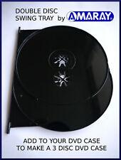AMARAY BLACK double UHD/blu-ray/dvd case SWING TRAY (holds 2 discs)