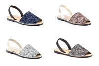 Sandali di Minorca Pelliccia Glitter Imbottite Donna Taglia 35 36 37 38 39 40 41