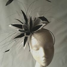 Black/White Feather Fascinator for Weddings, Races and Proms