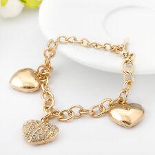 18K Gold GF Filigree SWAROVSKI CRYSTAL Heart Pendants Charm Bracelet Stunning
