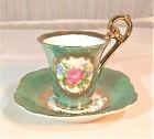 KPM Victorian Floral Demitasse or Chocolate Cup & Saucer Set, Teal Silver Lustre