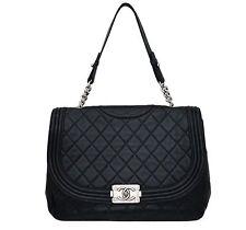 100% Authentic Chanel Black Lambskin Antik Boy Maxi Jumbo XL