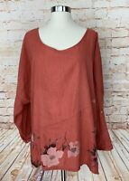 100% Lin Blanc Artsy Top Oversized Coral Floral Lagenlook Women's Sz 40 US M?