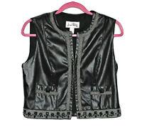 Joseph Ribkoff Womens Black Faux Leather Vest Sz 8 w/ Plastic Stud Veston Jacket