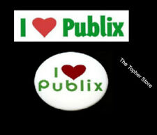PUBLIX SUPERMARKET I LOVE PUBLIX BUMPER STICKER WITH HEART &  I LOVE PUBLIX PIN
