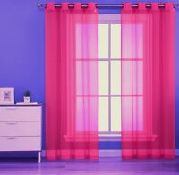 "1PC HOT PINK GROMMET VOILE SHEER PANEL WINDOW CURTAIN DRAPE RUBY 63 "" 84"" 95"""