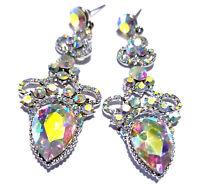 Rhinestone Crystal Chandelier Earrings Bridal Prom Pageant 2.8 inch Long AB