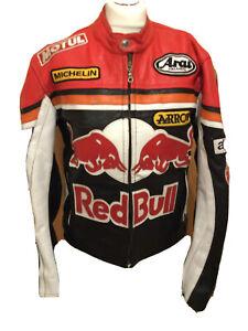Vintage 1990's Red Bull Leather Motorcycle Biker Jacket U.K. Small T2137