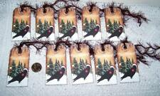 10~Christmas~Crow~Raven~M erry Christmas~Fussy Cut~Linen Cardstock~Gift~Hang~Tags