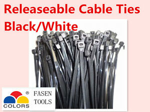 Variations Nylon Releasable Release adjustable Cable Zip Ties Black&White
