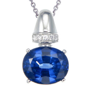 3.70 cttw Created Blue Sapphire Pendant .925 Sterling Silver With 18 Inch Chain