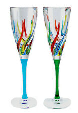 "GLASSWARE - ""VENETIAN CARNEVALE"" CHAMPAGNE FLUTES - SET OF TWO"