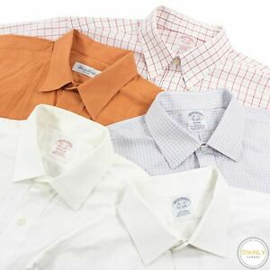 LOT OF 5 Brooks Brothers Multi Color Cotton Checked Spread Clr Dress Shirts 16.5