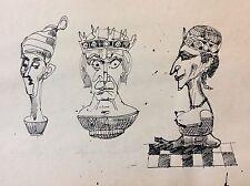 Encre Jeux d' échecs Roi Dame Fou anonyme Chess game King Queen Fool