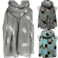 Fashion Ladies Voile Women's Long Owl Print Scarf Wraps Shawl Stole Soft Scarves