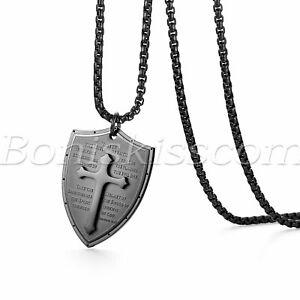 Men Stainless Steel Shield Armor of God Ephesians 6:16-17 Cross Pendant Necklace