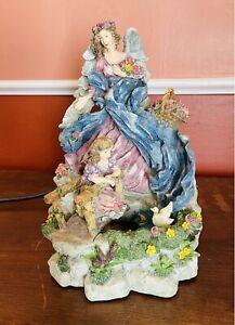 Vintage Fairy Angel Mystical Boho Waterfall Fountain Music Box Resin Zen WORKS!