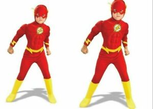 Fancy Dress Costume Superheroes Kids Boys Child The Flash Muscle Chest Outfit~~