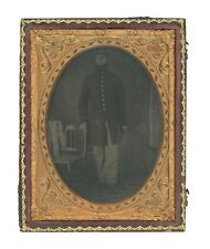 1/4 Plate Civil War Ambrotype of Union Soldier in Frock Coat - Missing Fingers?
