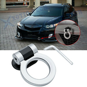 ABS JDM Sporty Silver Racing Track Dummy Tow Hook Ring Decoration For Acura TSX