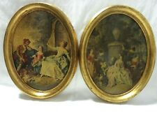 PAIR OF NICE VINTAGE OVAL WOOD FRAMED LACQURED TEXTURED VICTORIAN PRINTS