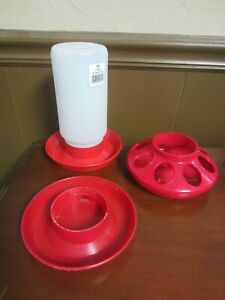 Poultry Chicken Chick 1 QT Plastic Water Set-Feeder Base-Water Base Red