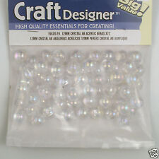 Crystal Iris/AB Acrylic Pearl Style Beads 12mm 72 pieces faux/plastic