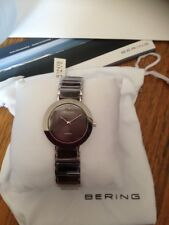 BERING Limited Edition DIAMOND Set Ceramic CHARITY 2 WATCH Silver Grey Face NEW