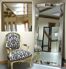 "Modena-G Extra Large Bevelled Venetian Leaner Mirror With Veneer Edge 31"" x 65"""