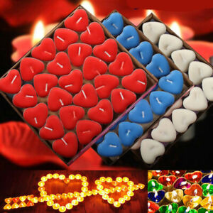 50Pc Love Heart Shaped Tealight Candles Smokeless Small Candle for Valentine.bu