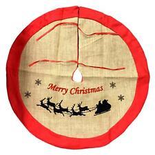 85cm Christmas Burlap Tree Skirt W Red Trim Xmas Ornament Home Décor