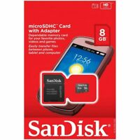 Sandisk® microSDHC™ 8GB Memory Card with SD Adapter For Mobile Tablet Camera