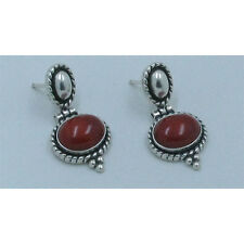QVC .925 Sterling Silver Natural Blood Red Coral Dangle Post Earrings