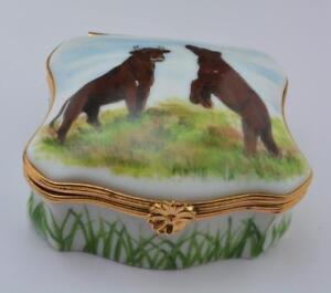 Limoges France Scotland's Yard Studio trinket box Bull & Bear by Merry Scotland