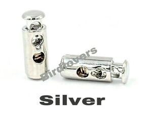 QUALITY SILVER BARREL TOGGLE SPRING STOP DOUBLE HOLE CORD LOCKS STOPPER END