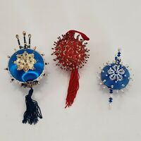 Vintage Push Pin Beaded Jeweled Satin Ball Christmas Ornaments Lot of 3 Blue Red