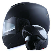 1Storm DOT Motorcycle Bike Modular Flip up Full Face Helmet Sun Visor Matt Black