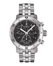 New Tissot PRS 200 Chrono Black Dial Steel Bracelet Men's Watch T0674171105101