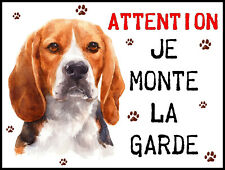 Plaque en aluminium Attention au chien Beagle