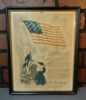 VINTAGE FRAMED PICTURE FLAG OF DESTINY WAR OF 1812