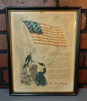 VINTAGE FRAMED PICTURE FLAG OF DESTINY WAR OF 1812
