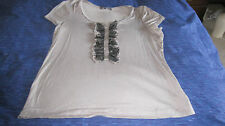 JACQUI-E beige short sleeve top  with silk ruffle trim  size  M  as new