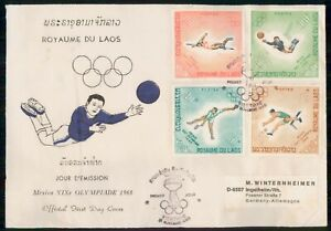 Mayfairstamps Laos 1968 Olympics Quad Frank first Day Cover wwm41405