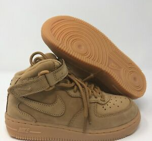 Nike kids Force 1 Mid LV8 (PS) Flax-Outdoor Green sz 12.5c [859337-200]